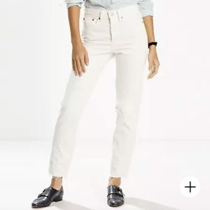 Levi's wedgie white mom jeans high rise button fly